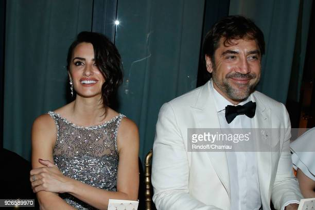 Penelope Cruz and Javier Bardem attend Dinner at Le Fouquet's during Cesar Film Award 2018 at Le Fouquet's on March 2 2018 in Paris France