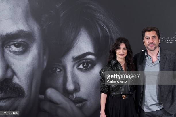 Penelope Cruz and Javier Bardem attend 'Loving Pablo' photocall at Melia Serrano Hotel on March 6 2018 in Madrid Spain