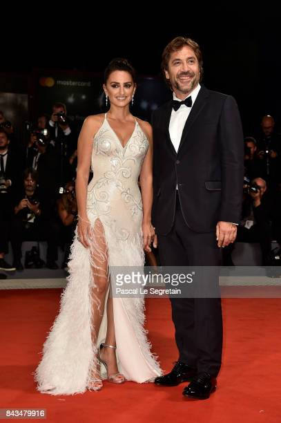 Penelope Cruz and Javier Bardem walk the red carpet ahead of the 'Loving Pablo' screening during the 74th Venice Film Festival at Sala Grande on...