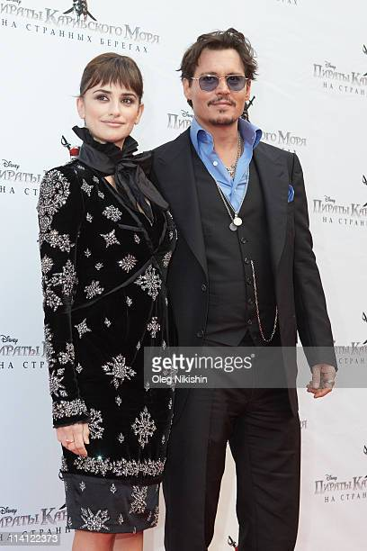 Penelope Cruz and Johnny Depp attend at the Russian premiere of Pirates Of The Caribbean: On Stranger Tides movie on May 11, 2011 in Moscow, Russia.