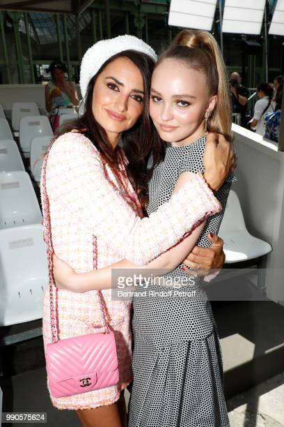 Penelope Cruz and LilyRose Depp attend the Chanel Haute Couture Fall Winter 2018/2019 show as part of Paris Fashion Week on July 3 2018 in Paris...