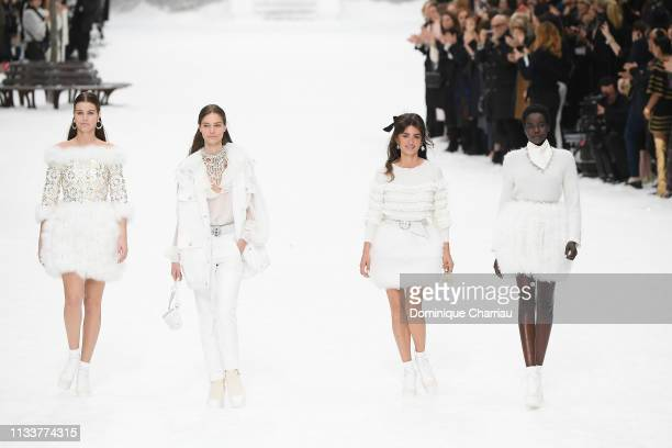 Penelope Cruz and models walk the runway during the Chanel show as part of the Paris Fashion Week Womenswear Fall/Winter 2019/2020 on March 05 2019...
