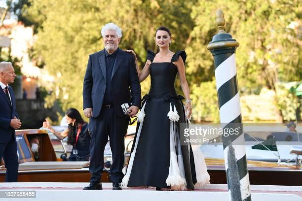 Penelope Cruz and Pedro Almodovar are seen arriving at the 78th Venice International Film Festival on September 01, 2021 in Venice, Italy.