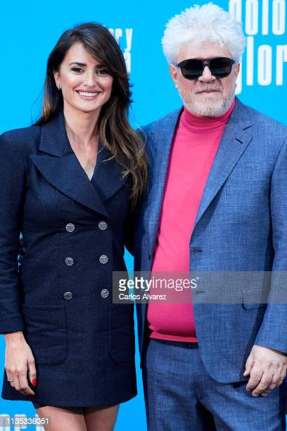 Penelope Cruz and Pedro Almodovar attend 'Dolor y Gloria' photocall at the Villamagna Hotel on March 12, 2019 in Madrid, Spain.