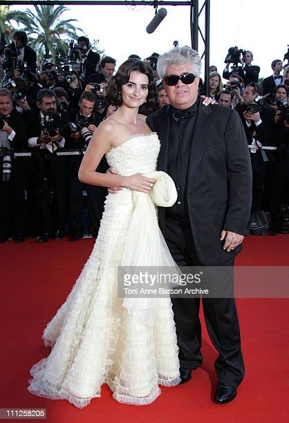 Penelope Cruz and Pedro Almodovar during 2006 Cannes Film Festival Volver Premiere at Palais Du Festival in Cannes France
