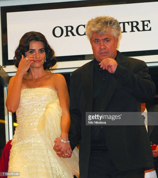 Penelope Cruz and Pedro Almodovar during 2006 Cannes Film Festival Volver Premiere Departures at Palais du Festival in Cannes France