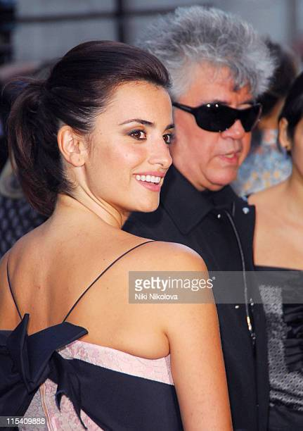 Penelope Cruz and Pedro Almodovar during Volver London Premiere Outside Arrivals at Curzon Mayfair in London Great Britain