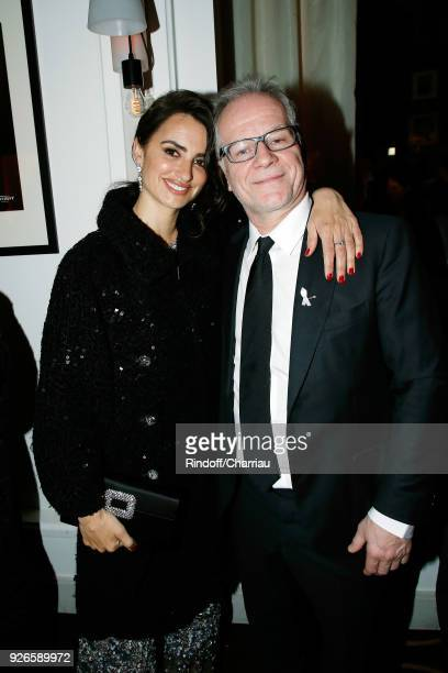 Penelope Cruz and Thierry Fremaux attend 'Dinner at Le Fouquet's' during Cesar Film Award 2018 at Le Fouquet's on March 2 2018 in Paris France