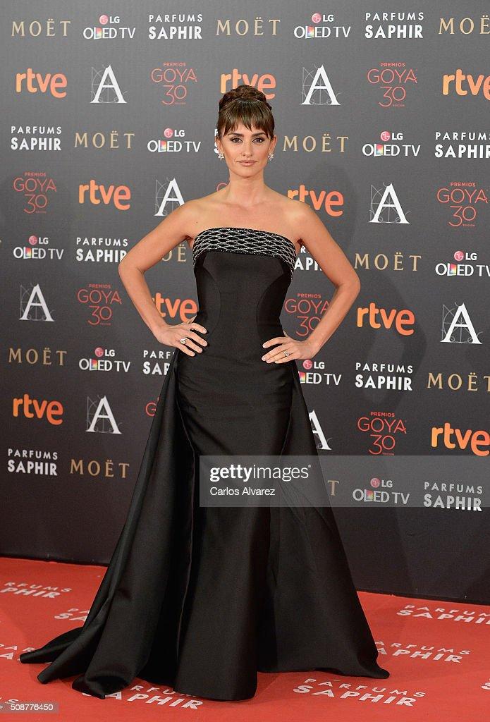 Penelope Cruz attends Goya Cinema Awards 2016 at Madrid Marriott Auditorium on February 6, 2016 in Madrid, Spain.