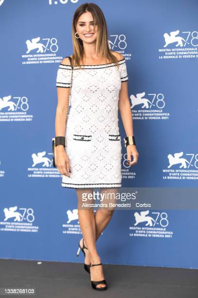 """Penelope Cruz attends the photocall of """"Competencia Oficial"""" during the 78th Venice International Film Festival on September 04, 2021 in Venice,..."""