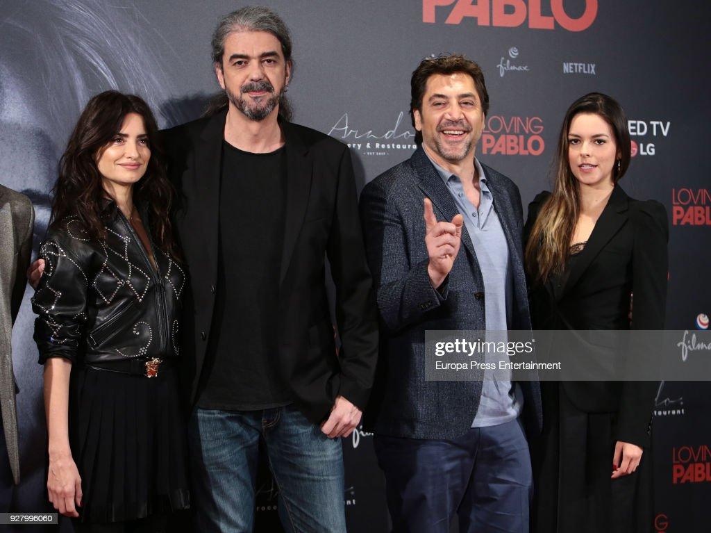 Penelope Cruz, director Fernando Leon de Aranoa, Javier Bardem and Julieth Restrepo attend 'Loving Pablo' photocall on March 6, 2018 in Madrid, Spain.