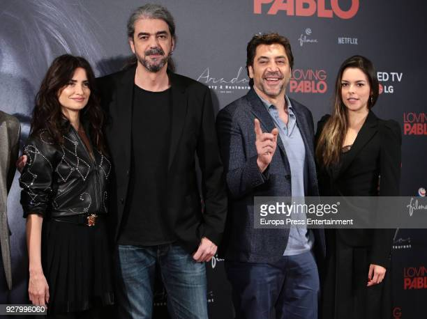 Penelope Cruz director Fernando Leon de Aranoa Javier Bardem and Julieth Restrepo attend 'Loving Pablo' photocall on March 6 2018 in Madrid Spain