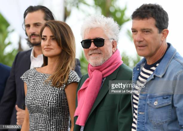 Penelope Cruz Director Pedro Almodovar and Antonio Banderas attend the Pain And Glory photocall during the 72nd annual Cannes Film Festival on May 18...