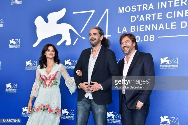 Penelope Cruz Fernando Leon de Aranoa and Javier Bardem attend the 'Loving Pablo' photocall during the 74th Venice Film Festival on September 6 2017...