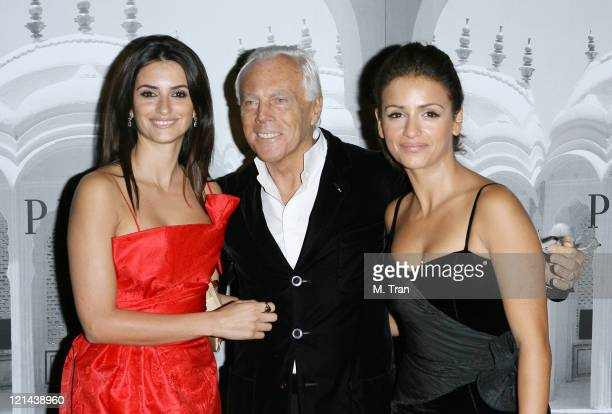 Penelope Cruz Giorgio Armani and Monica Cruz during Giorgio Armani Celebrates 2007 Oscars with Exclusive Prive Show at Green Acres Estates in Beverly...