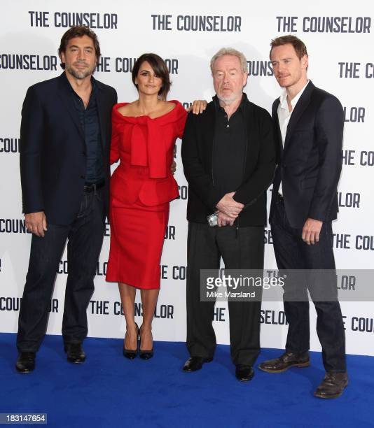 Penelope Cruz Javier Bardem Ridley Scott and Michael Fassbender attend a photocall for 'The Counselor' at The Dorchester on October 5 2013 in London...