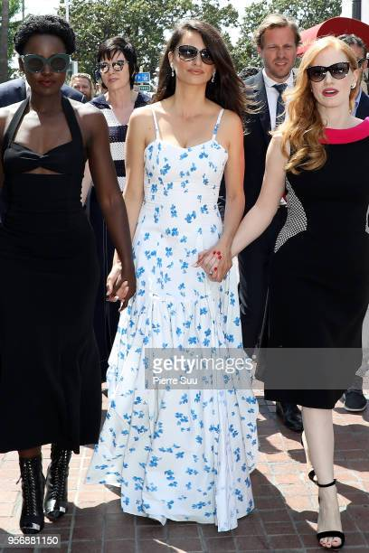 Penelope Cruz Jessica Chastain and Lupita Nyong'o are seen at 'Le Majestic' hotel during the 71st annual Cannes Film Festival at on May 10 2018 in...