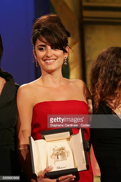 Penelope Cruz one of the actresses from the female cast of 'Volver' that received the Best Female Actress award jointly at the closing ceremony of...