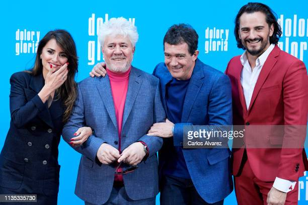 Penelope Cruz Pedro Almodovar Antonio Banderas and Asier Etxeandia attend 'Dolor y Gloria' photocall at the Villamagna Hotel on March 12 2019 in...