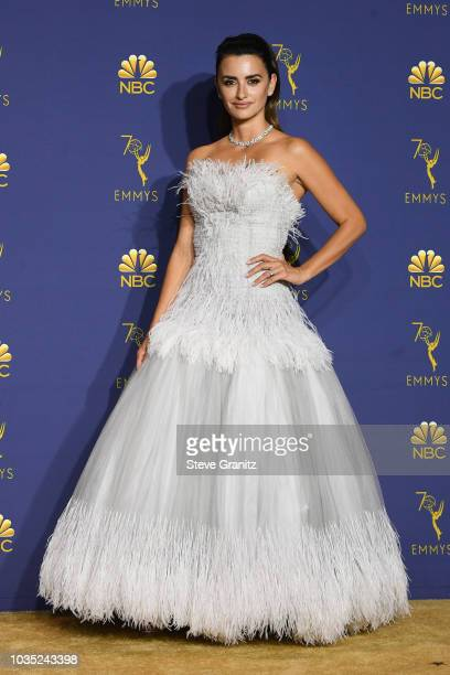 Penelope Cruz poses in the press room during the 70th Emmy Awards at Microsoft Theater on September 17 2018 in Los Angeles California