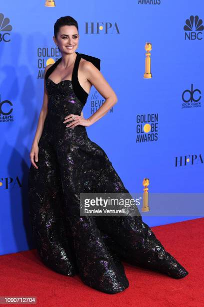 Penelope Cruz poses in the press room during the 75th Annual Golden Globe Awards at The Beverly Hilton Hotel on January 06 2019 in Beverly Hills...