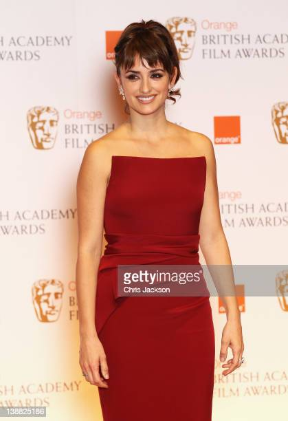 Penelope Cruz poses in the press room during the Orange British Academy Film Awards 2012 at the Royal Opera House on February 12 2012 in London...