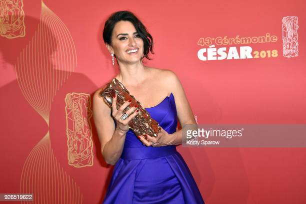 Penelope Cruz poses with the Cesar for Honory Lifetime Achievement award during the Cesar Film Awards at Salle Pleyel on March 2 2018 in Paris France