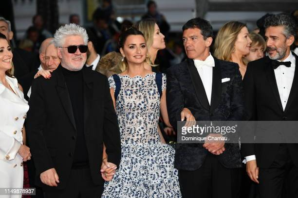 Penelope Cruz wearing Atelier Swarovski fine Jewelry and Antonio Banderas attend the screening of Pain And Glory during the 72nd annual Cannes Film...