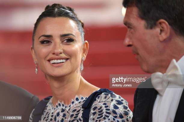Penelope Cruz wearing Atelier Swarovski Fine Jewelry and Antonio Banderas leave the screening of Pain And Glory during the 72nd annual Cannes Film...