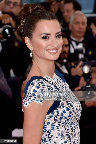Penelope Cruz wearing Atelier Swarovski fine Jewelry attends the screening of Pain And Glory during the 72nd annual Cannes Film Festival on May 17...