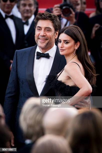 Penelope Cruz wearing jewels by Atelier Swarovski Fine Jewelry with Javier Bardem attend the screening of Everybody Knows and the opening gala during...