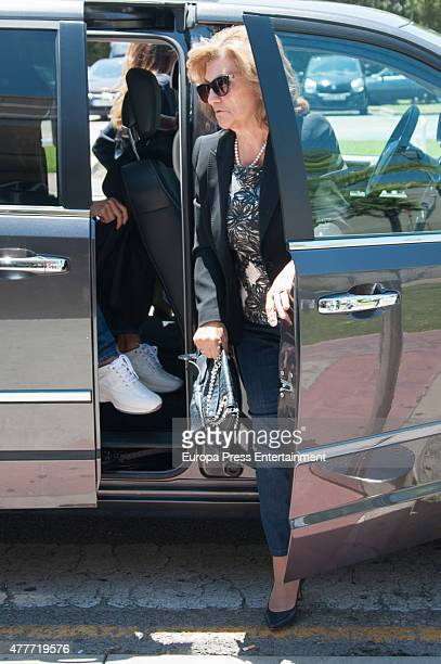 Penelope Cruz's mother Encarna Sanchez is seen at the funeral chapel of Penelope's father Eduardo Cruz on June 19 2015 in Madrid Spain
