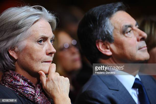 Penelope Fillon the wife of Former French Prime Minister Francois Fillon and candidate of the party Les Republicains during at his meeting at the...