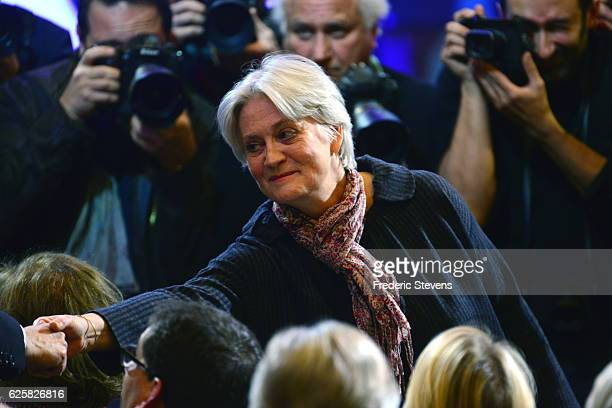 Penelope Fillon the wife of Former French Prime Minister Francois Fillon and candidate of the party Les Republicains arrives at his meeting at the...