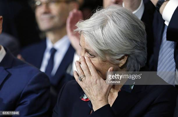 Penelope Fillon wife of former French prime minister and member of rightwing political party 'Les Republicains' Francois Fillon wipes her eyes during...