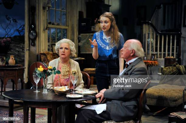 Penelope Keith as Mrs St Maugham Emma Curtis as Laurel and Oliver Ford Davies as the Judge in Enid Bagnold's The Chalk Garden directed by Alan...