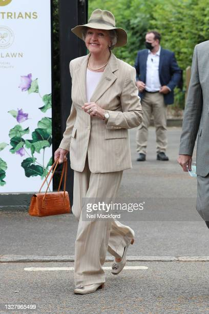 Penelope Keith attends Wimbledon Championships Tennis Tournament Ladies Final Day at All England Lawn Tennis and Croquet Club on July 10, 2021 in...