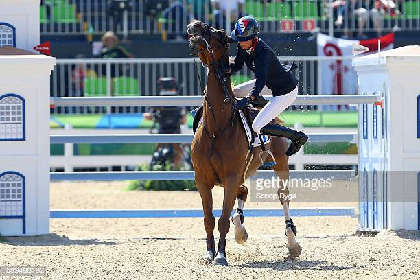 Penelope LEPREVOST FLORA DE MARIPOSA competes and crashes during the Jumping Individual and Team Qualifier on Day 9 of the Rio 2016 Olympic Games at...