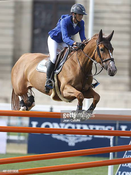 Penelope Leprevost of France competes in the Longines Global Champions Tour on July 17 2015 in Chantilly France