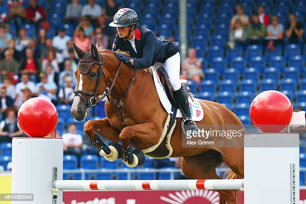 Penelope Leprevost of France competes on her horse Flora de Mariposa during the Turkish Airlines Prize Individual Show Jumping competition on Day 8...
