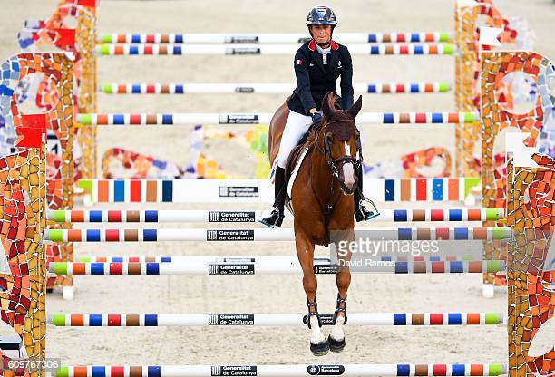 Penelope Leprevost of France rides Flora de Mariposa during the CSIO Barcelona Furusiyya FEI Nations Cup Jumping Final First Round at the Real Club...