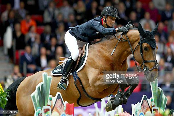 Penelope Leprevost of France rides Vagabond de la Pomme during the Longines FEI World Cup Final Jumping at Scandinavium on March 28 2016 in...
