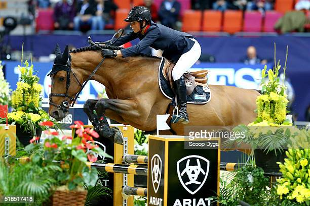 Penelope Leprevost of France rides Vagabond de la Pomme during the Longines FEI World Cup Final Jumping at Scandinavium on March 25 2016 in...