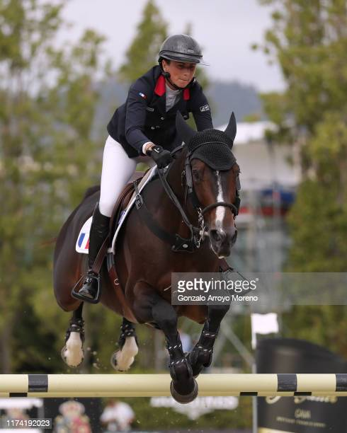 Penelope Leprevost of France rides Vancouver de Lanlore in the final competition during Day 4 of Longines FEI Jumping Nations Cup Final at Real Club...