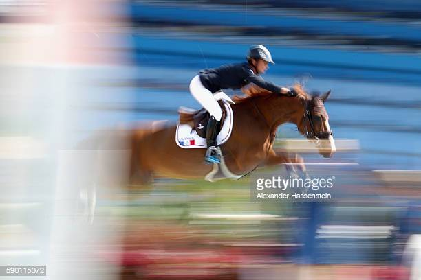 Penelope Leprevost rides Flora De Mariposa during the Team Jumping on Day 11 of the Rio 2016 Olympic Games at the Olympic Equestrian Centre on August...
