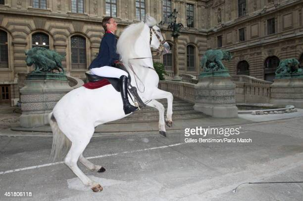 Penelope Leprevost with Nador are photographed for Paris Match at the start of the Longines Global Champions Tour Paris Eiffel on June 26 2014 in...