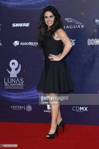 Penelope Menchaca poses for photos on the red carpet before the XVII Lunas del Auditorio award ceremony at Auditorio Nacional on October 31 2018 in...