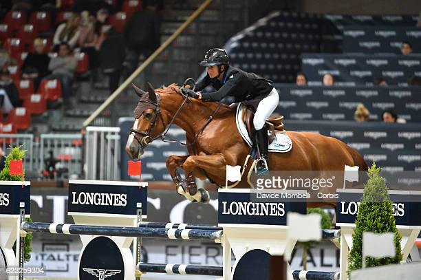 Penelope of France rides Flora de Mariposa during the FEI Longines CSI5* World Cup Small Tour By BMW Jumping Verona 2016 on November 10 2016 in...
