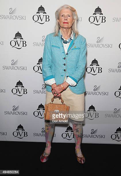 Penelope Seidler poses during the QVB Swarovski Christmas tree VIP preview on October 28 2015 in Sydney Australia