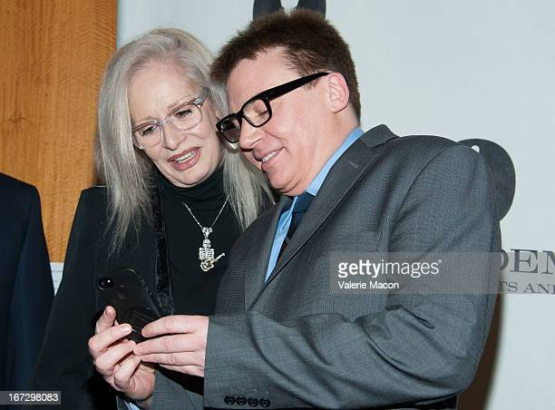 Penelope Spheeris and Mike Myers attends Academy Of Motion Picture Arts And Sciences Hosts A Wayne's World Reunion at AMPAS Samuel Goldwyn Theater on...